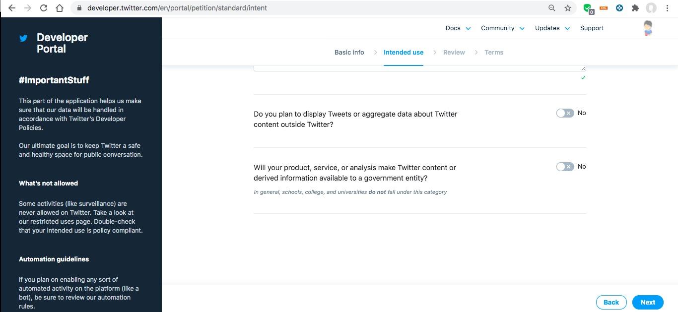 手順3:Twitter APIの利用申請