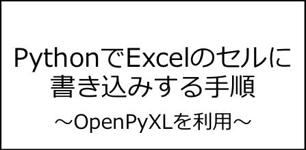 【OpenPyXL】PythonでExcelのセルに書き込みする手順